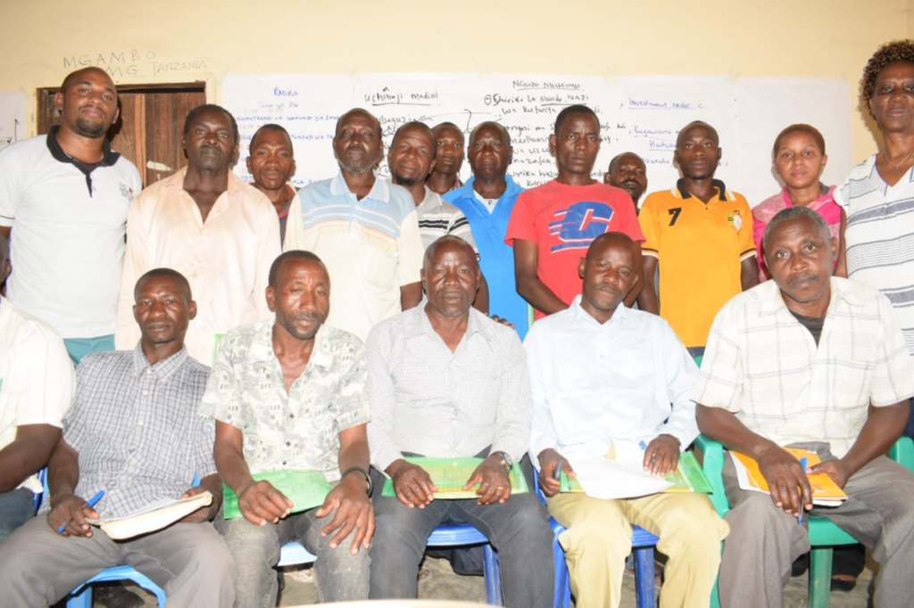 The group of miners and mine leaders for whom the training was provided in Tanzania